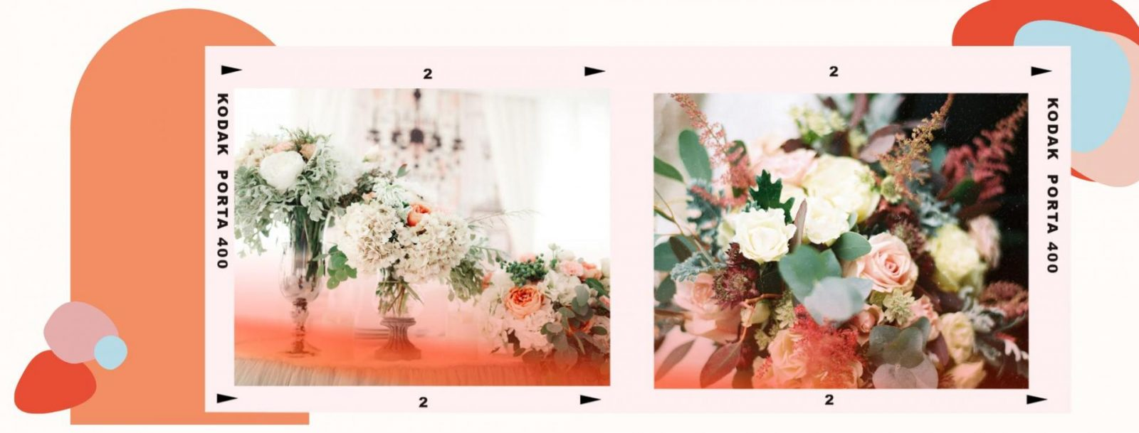 A graphic created with funky shapes featuring wedding florals.